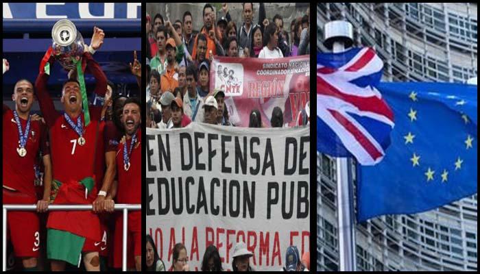 Anuncia CNTE marchas; Portugal campeón de la Euro; rechaza RU nuevo referéndum;