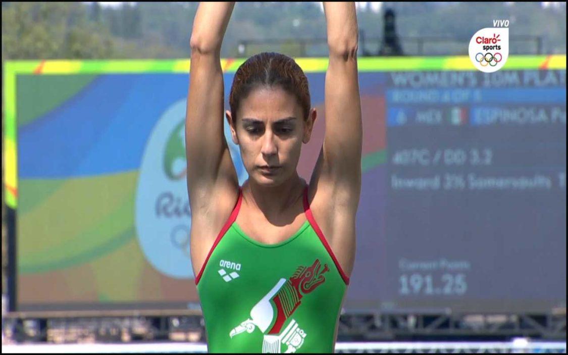 Paola Espinosa en semifinales de 10 metros individuales.